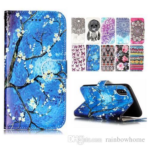 d5873b3c517 Diseños De Fundas Para Celular Mariposa Del Cráneo De La Flor Funda Con  Tapa Del Cuero Del Tirón Para IPhone XR XS Max X 8 Samsung S9 S8 Plus J5 J7  J510 ...