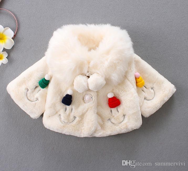 best service 1cd5c b22b6 I bambini del bambino scialle di pelliccia ecologica per bambini a maglia  chirstmas cappello pompon risvolto poncho manica lunga baby girls volto ...