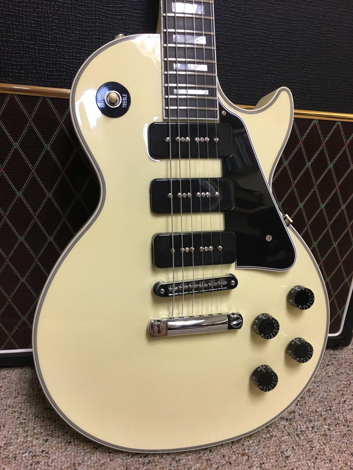 2018 Custom 3 Black P90 P 90 Pickups White Electric Guitar Ebony