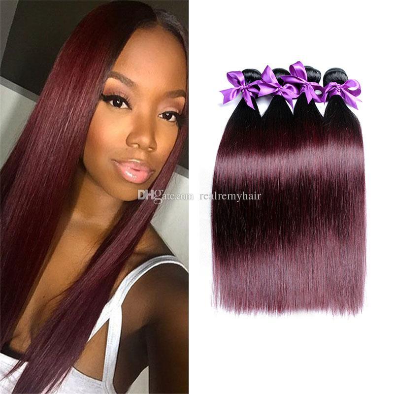 Brazilian Red Ombre Human Hair 4 Bundles Straight Dark Red 1b99j