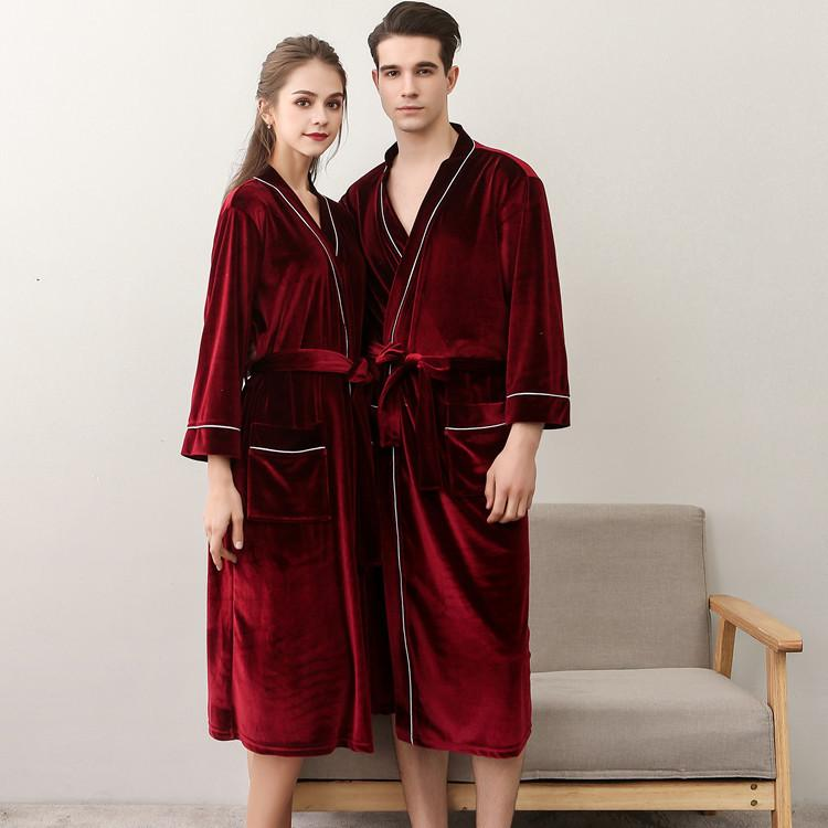 562b06f8e5 2019 V Neck Women Autumn Bathrobes Men Sleepcoats Soft Warm Nighty With  Pockets Velour Hotel Robes Fashion Unisex Solid Pajamas From Flowter