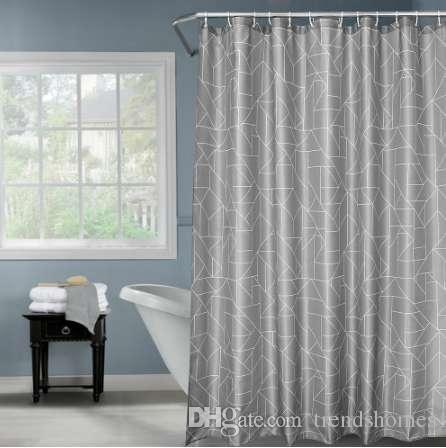Acheter Rideau De Douche Impermable Couleur Grise Polyester Tissu Salle Bains Grattage Pais 180 Cm