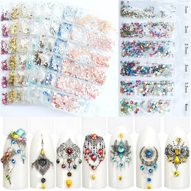 YWK 1 Pack Flatback Glass Nail Rhinestones Mixed Sizes SS3 SS12 Nail Art  Decoration Stones Shiny Gems Manicure Accessories Tools Wedding Crafts  Wholesale ... 9094ed7b3d09