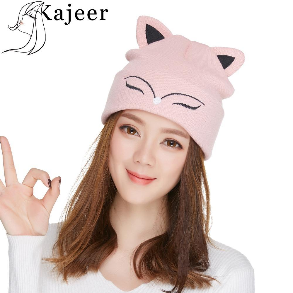 Kajeer Women S Hat Knitted Wool Winter Warm Beanie Pink Cute Fox Ears  Skulls Knit Hat Caps For Women Girl Teenagers D18110601 Skull Caps Stocking  Cap From ... 3ea5acfeec8