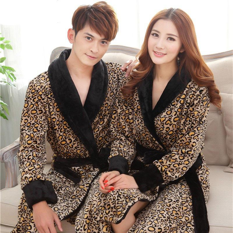 Fashion lovers bathrobe new warm flannel bathing robe long sleeves winter couples robes sexy leopard bathroomrobe