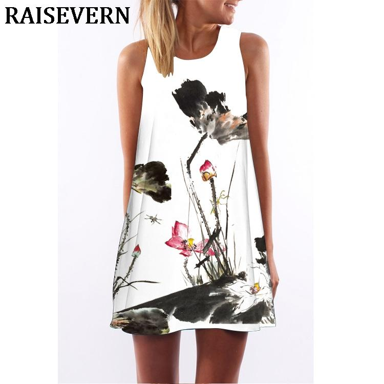 Femmes Dress Sans Une Tunique Encre Peinture 3d Manches Acheter qSgwPIaq