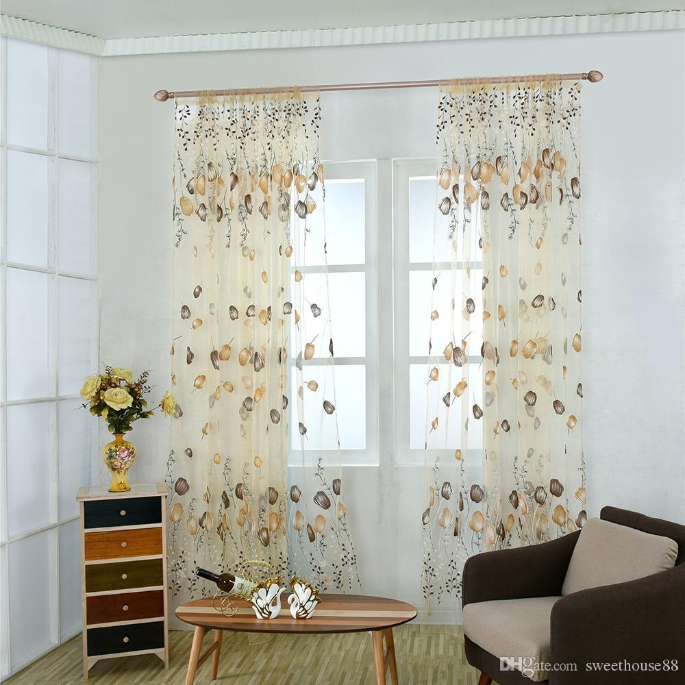100cm x 200cm Chiffon Gauze Voile Wall Room Divider Tulip Floral Printed Window Curtain Window Screening Tulle Blinds Voile Gauze Curtain NB