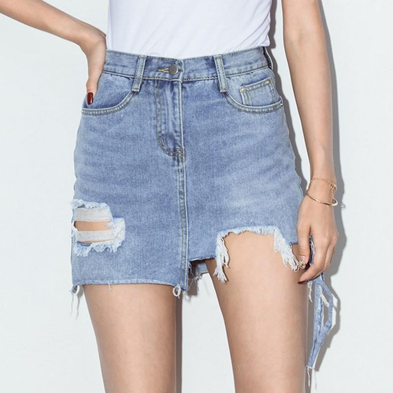 d399360e0e62 2019 Distressed Irregular Jeans Skirt Women 2018 Summer High Waist Tassel  Ripped Saia Mini Bodycon Pencil Hole Washed Sexy Jupe Femme From Charle