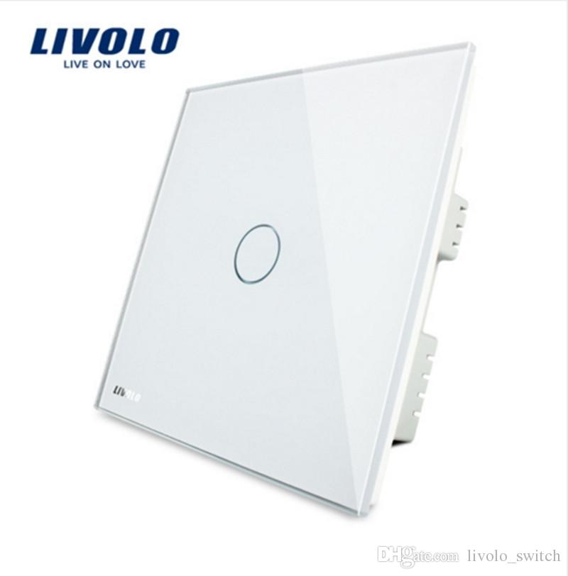Livolo UK Standard Wall Switch, Ivory White Crystal Glass Panel,AC 220-250V VL-C301-61, Light Touch Switch,1 Gang 1 Way