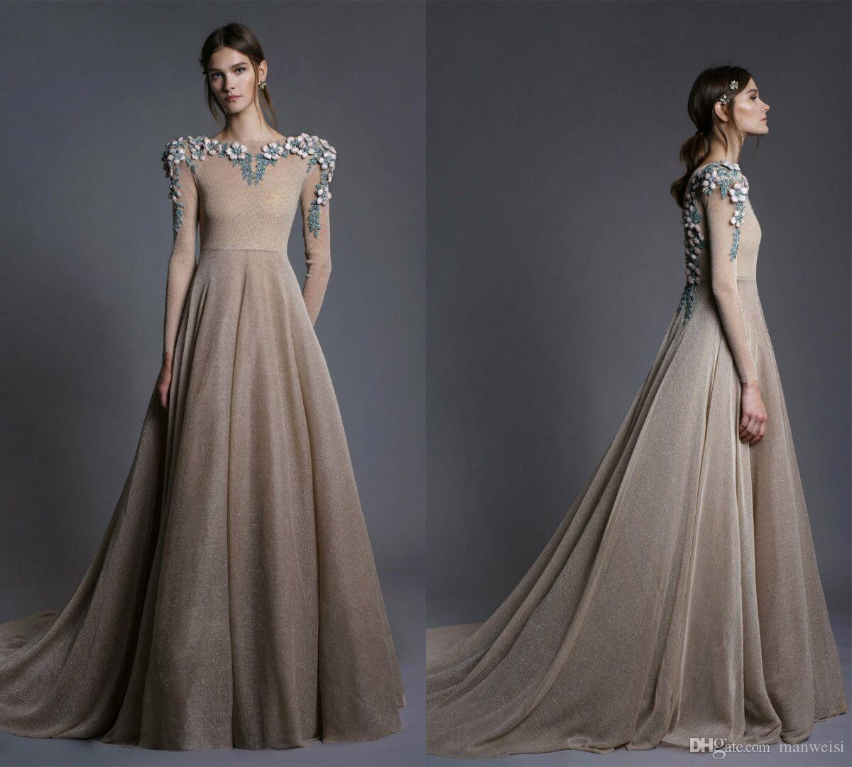 4e9035521f232 Illusion Embroidery Evening Dresses Long Sleeves Lace Appliqued Beads Saudi Arabia  Prom Gowns A Line Nude Formal Party Dress Silk Evening Dress Simple ...