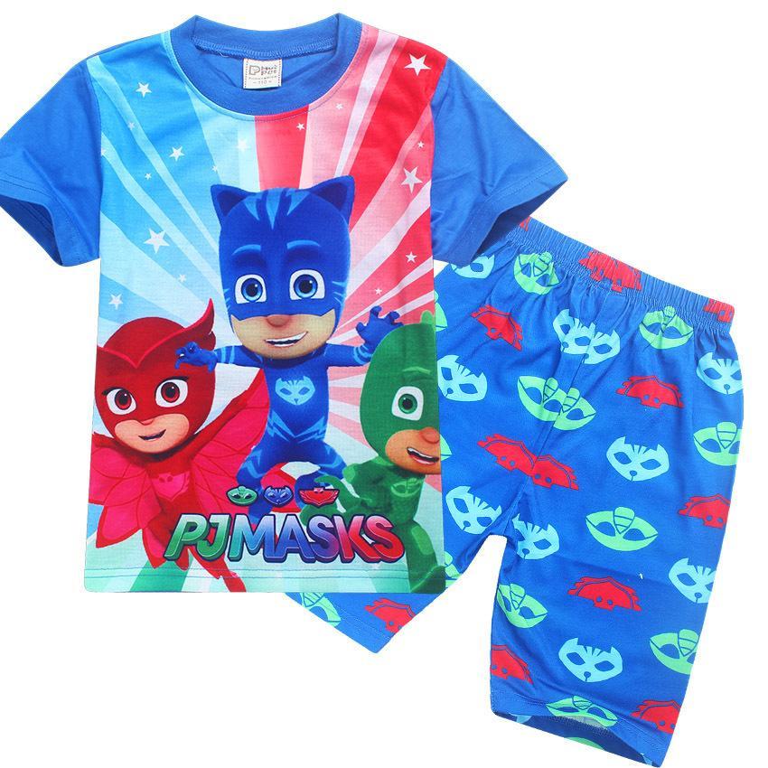 8dede7330f76 New Pajama Summer Girl T Shirt + Pants Children Cartoon Suit Sets ...