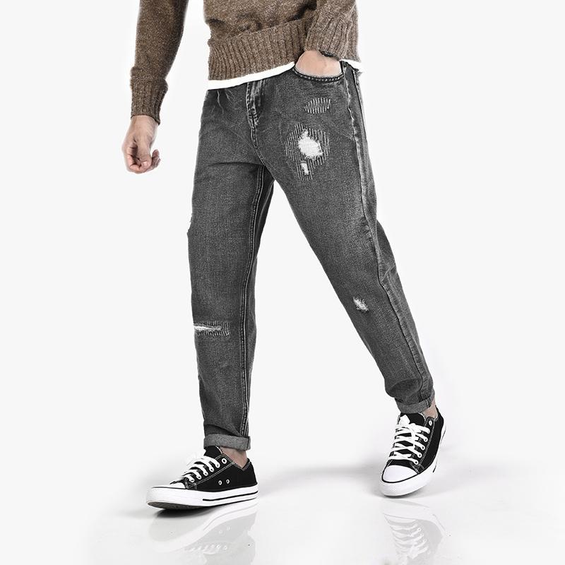 be9173ec2d018c Großhandel Biker Jeans Männer 2018 Herbst New Washed Vintage Grau Mode Dünne  Beiläufige Hosen Zerrissen Loch Trend Streetwear Hip Hop Hosen Von  Shipsoon, ...