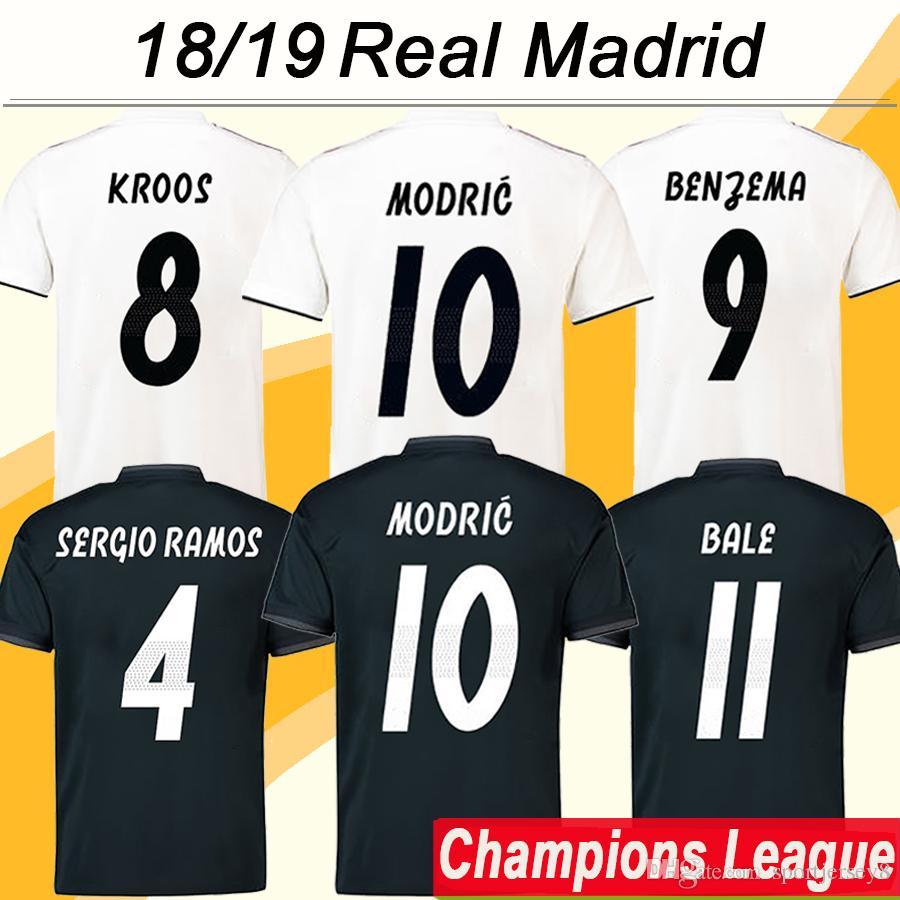 18 19 Liga De Campeones Camisetas De Fútbol MODRIC VINICIUS JR KROOS 2018  19 Real Madrid RAMOS BENZEMA Camisetas De Fútbol ISCO BALE Uniformes Cortos  Para ... 41a753ad3b419