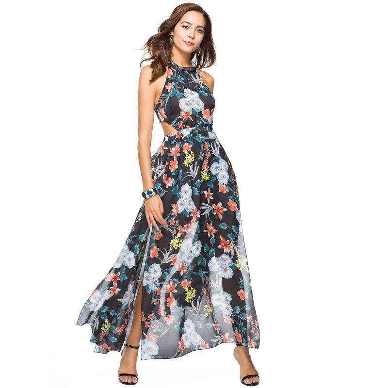 6ffa7726c4 2019 2018 High Quality Women Fashion Floral Flower Print Chiffon Dress  Summer Backless Sexy Party Halter A Line Long Maxi Tube Dress From Yanmai