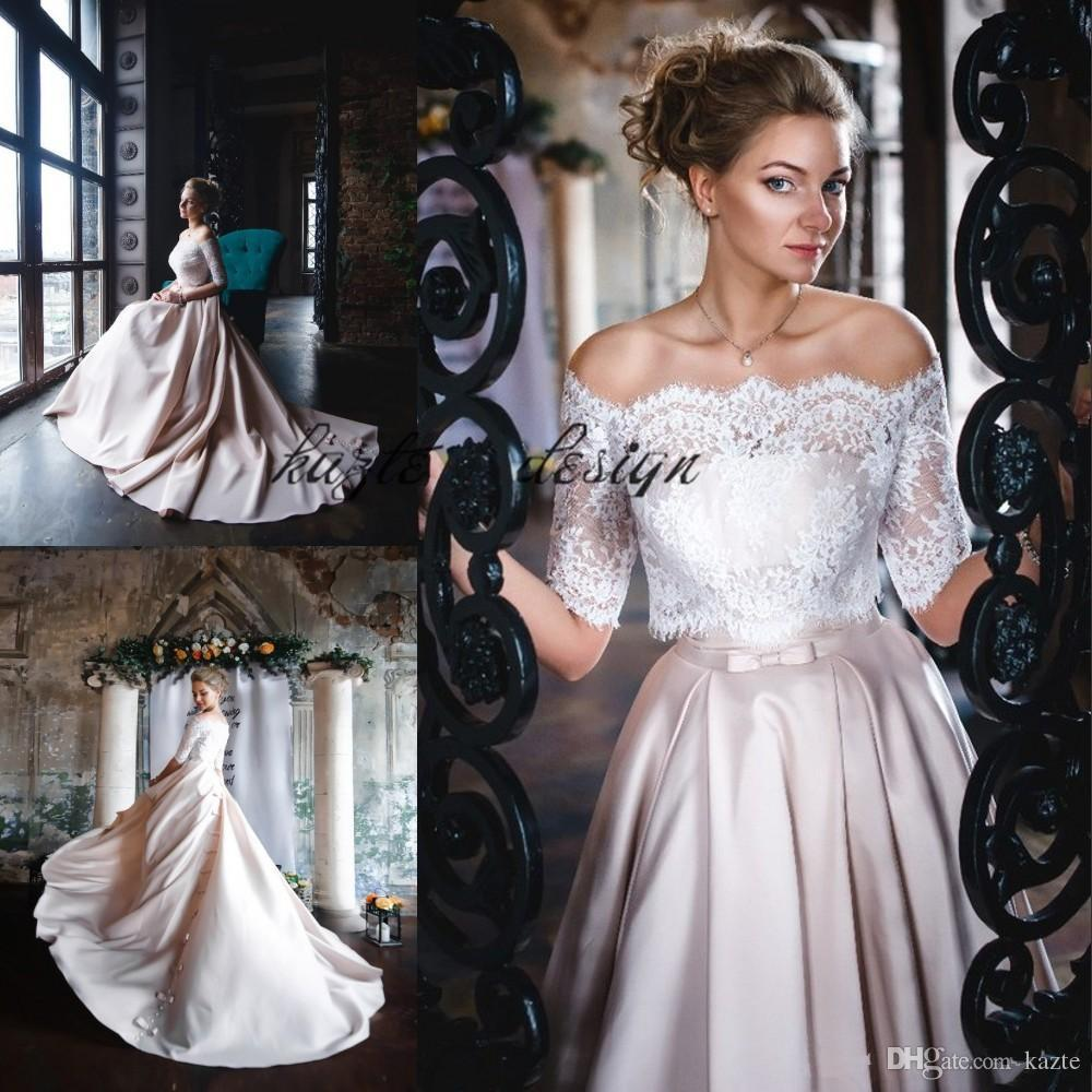 Champagne Satin Garden Wedding Dresses with Lace Jacket Blouse 2018 Bows Zipper Back Off Shoulder Bohemian Country Bridal Wedding Gown Cheap