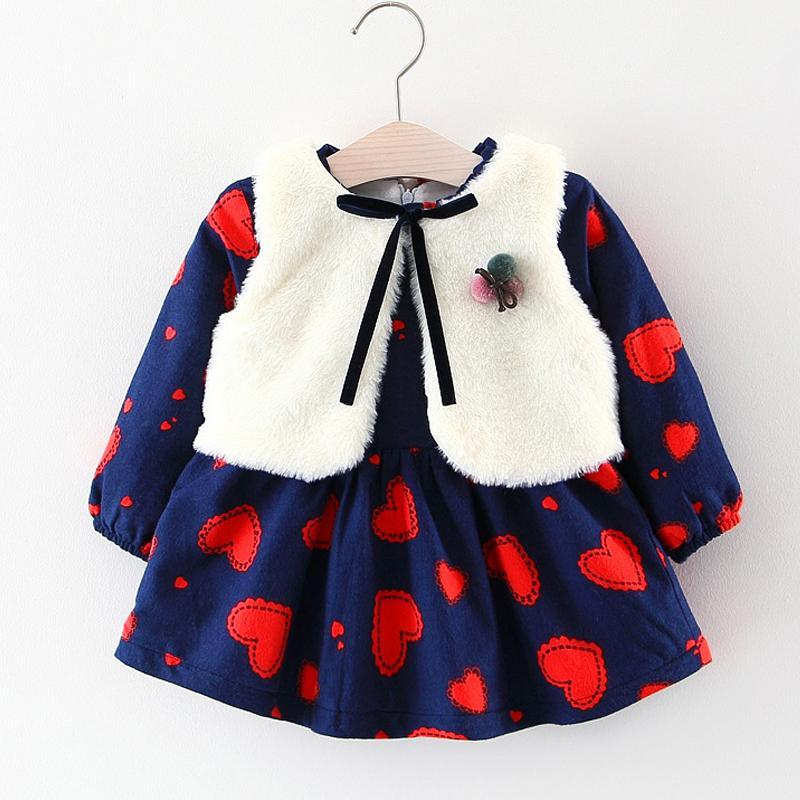 94a252d3389dc Baby Girls Dress Autumn and Winter Girls Thicken Plus Velvet Long Sleeve  Down Dress White Fur Vest 2Pcs Suit Kids Clothes Dress
