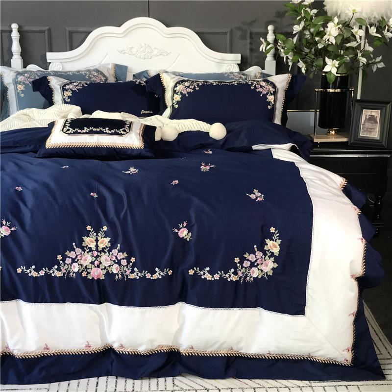 Acheter Bleu Marine Blanc Luxe Broderie De Fleurs égypte Coon