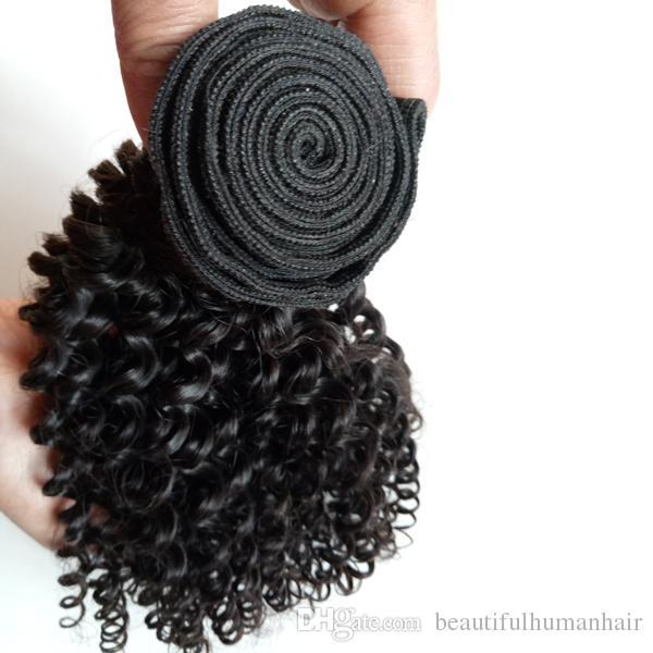 Brazilian Virgin Human Hair Weft Kinky Curly Hair Weaves Short Bob