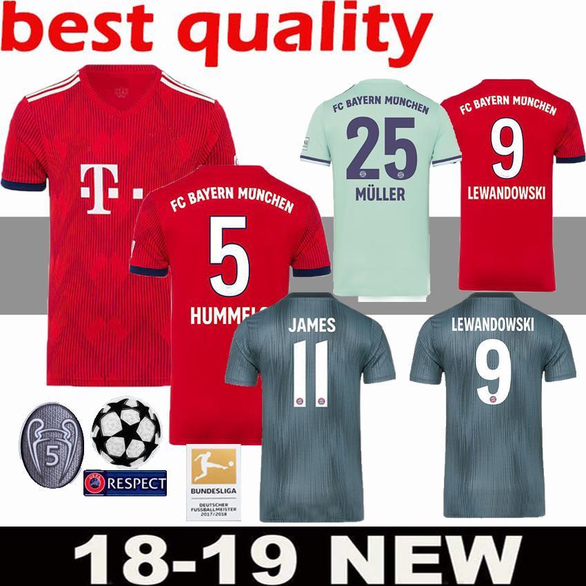 Thailand Bayern Munich JAMES RODRIGUEZ Soccer Jersey 2018 2019 LEWANDOWSKI  MULLER KIMMICH 18 19 HUMMELS Football Shirt Champions League UK 2019 From  ... d71ca3420