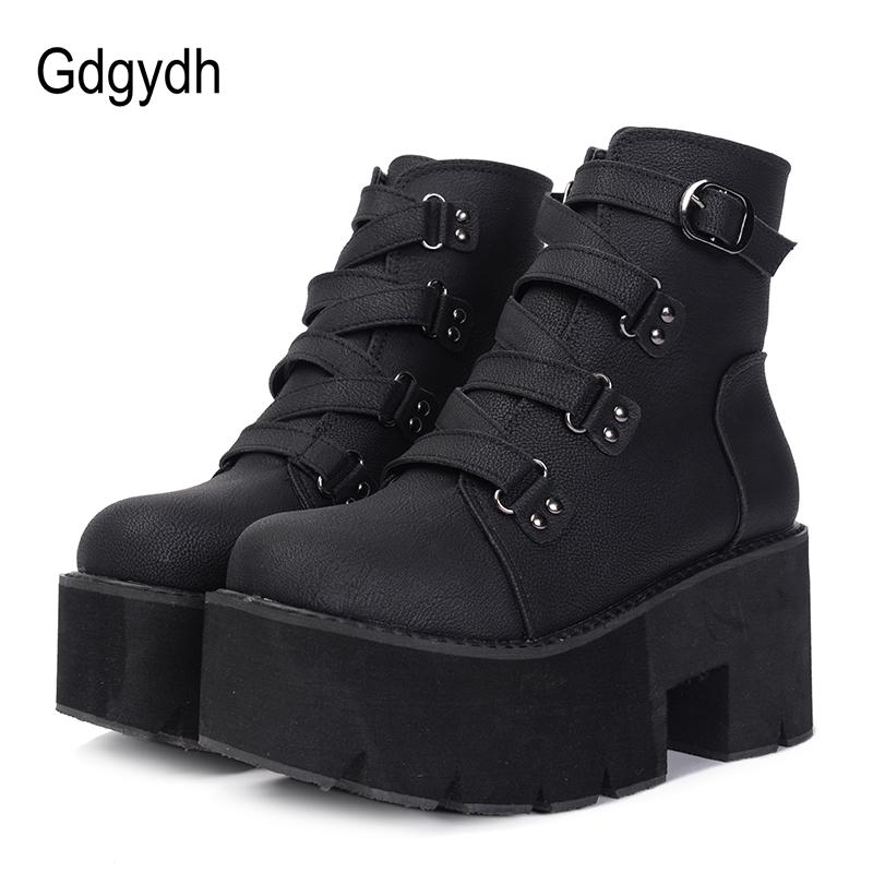 d5ed41d03f1bb Gdgydh Spring Autumn Ankle Boots Women Platform Boots Rubber Sole Buckle  Black Leather PU High Heels Shoes Woman Comfortable Motorcycle Boots  Military Boots ...