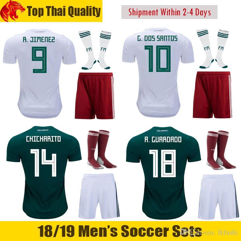 18 19 mexico chicharito football uniforms mexico g.dos santos soccer sets 2018 world cup m.layun loz