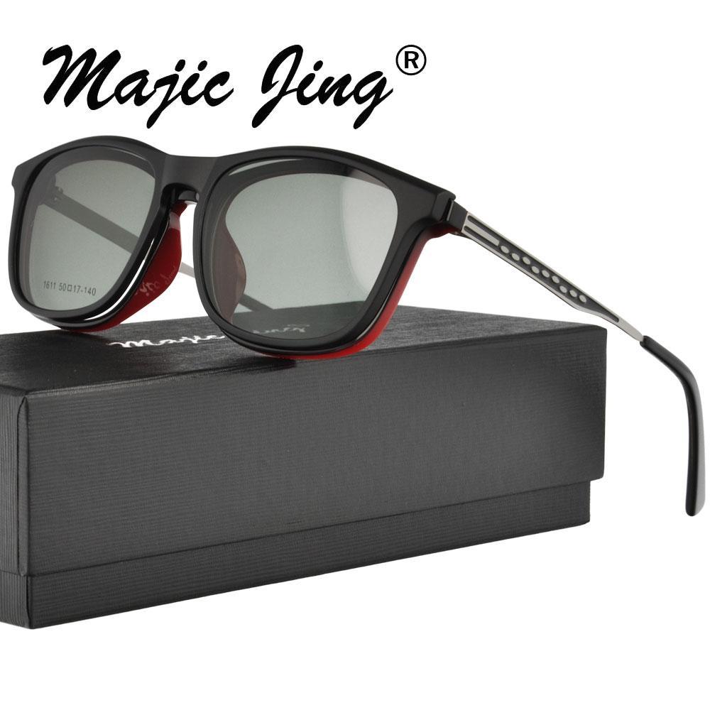 37b70c4b76a01 Compre Óculos De Acetato Magic Jing Com Óculos De Clip Metal Tmeple Em  Óculos Em Óculos De Sol Clip Sol 1611 De Runyutian
