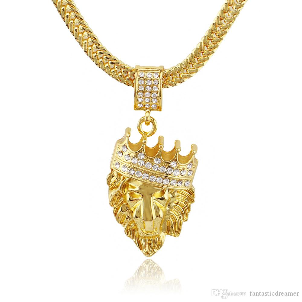 Wholesale factory bottom price hip hop lion head jewelry crystal wholesale factory bottom price hip hop lion head jewelry crystal crown bijoux men pendant gold color long alloy necklace fashion animal accessories pendant aloadofball Gallery