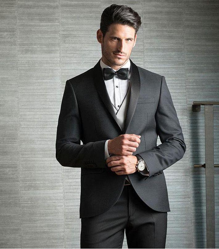 Vestito Matrimonio Uomo Nero : Acquista tre pezzi uomo nero abiti matrimonio slim fit groomsmen