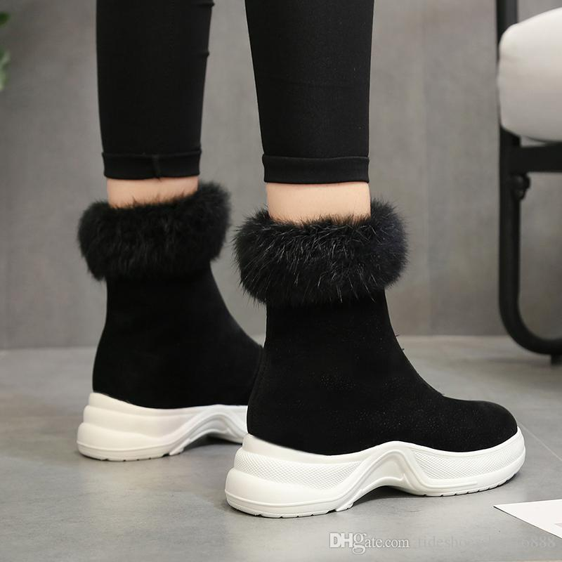 9841323420a Rabbit Fur Snow Boots Women Winter Shoes Wedge Platform Boots 2018 Brand  Fashion Front Zipper Snowboots Height Increasing Warm Plush Shoes Shoes  Winter ...