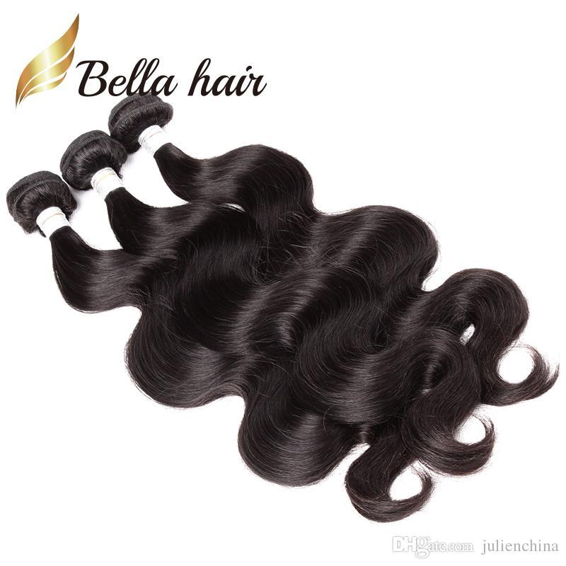 Bella Hair® Grade 9A 10 ~ 24INCK Obehandlad Brasiliansk Virgin Hair Extension Body Waves Vävar Naturlig färg 2bundles