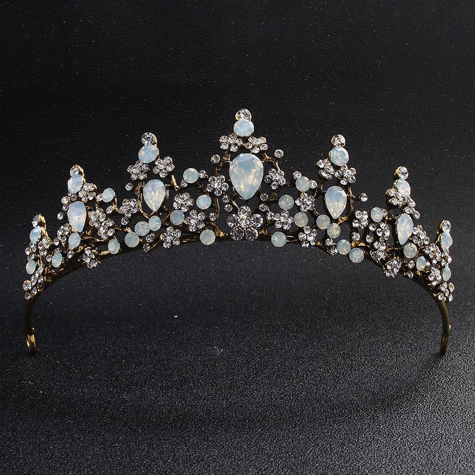 2019 classic opal stones black gold tiaras and crowns wedding hair