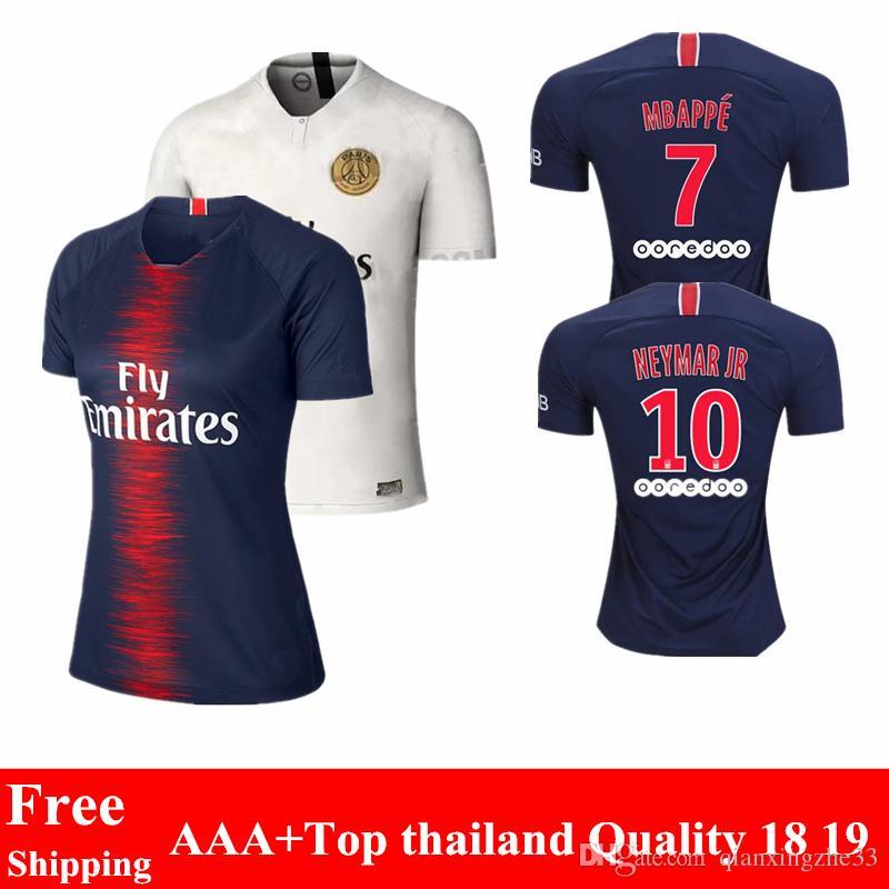 Compre 2018 2019 Top Tailândia Psg Jersey 18 19 Em Casa Partidas Paris  Maillot Cavani Camisa De Futebol Mulheres Psg Mbappe Maillot De Foot De  Qianxingzhe33 ... 7fafdbfc87e09