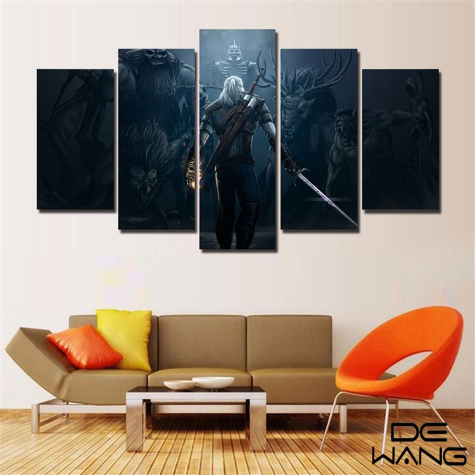 The Witcher 3,5 Pezzi Home Decor HD Stampato Pittura di arte moderna su tela (senza cornice / con cornice)
