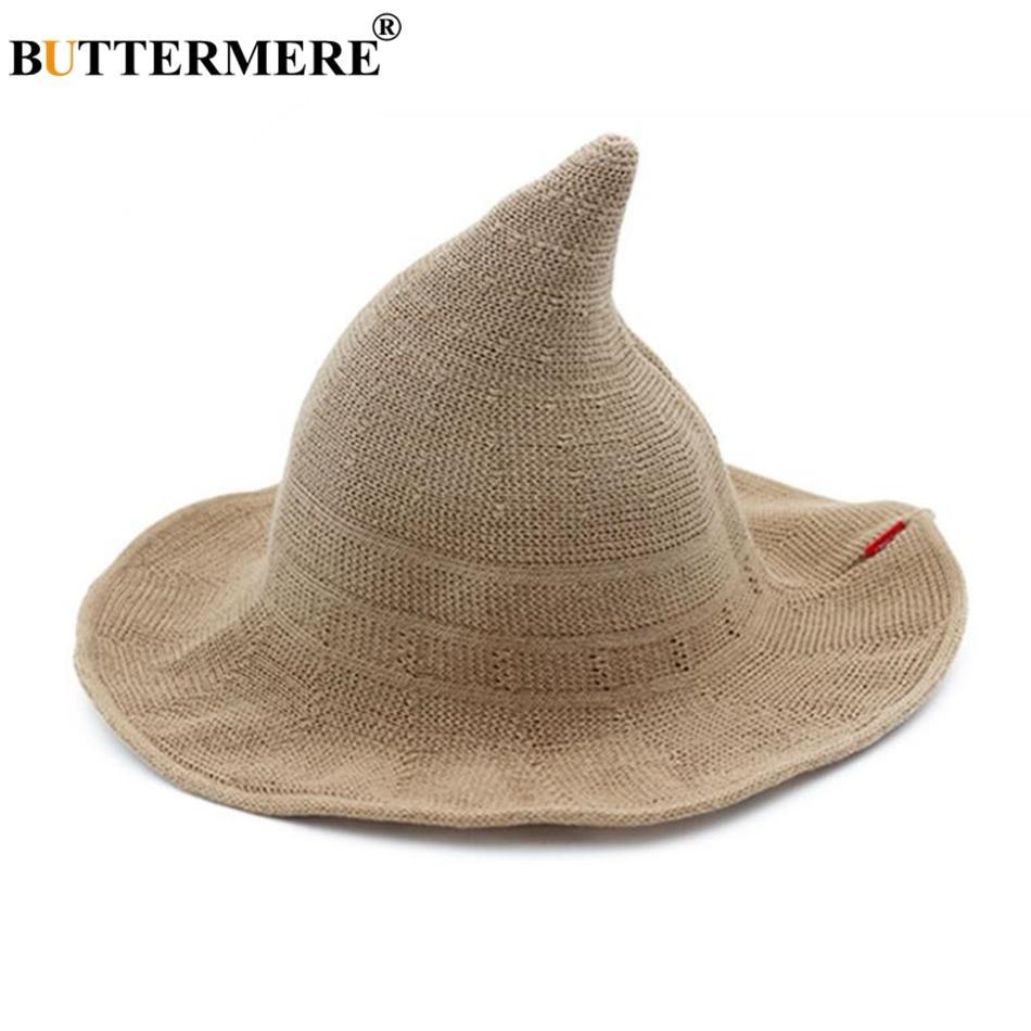 BUTTERMERE Women Witch Hat Knitting Bucket Hat Korean Ladies Wizard Wide  Brim Female Fishing Khaki Black Ray Pink Beige Trucker Hats Boonie Hat From  ... 6c8613e559a