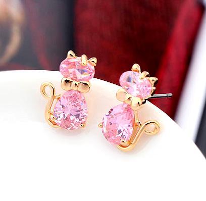 Hot Sale Elegant Cat Stud Earrings Fine Jewelry Gold Color CZ Crystal Earrings For Women Aretes De Mujer