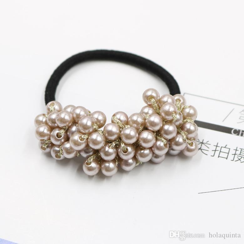 Femmes Accessoires de cheveux Perles Perles Bandeaux Titulaire de queue de cheval Filles Scrunchies Bandes de cheveux élastiques Vintage Rubber Rope Coiffe