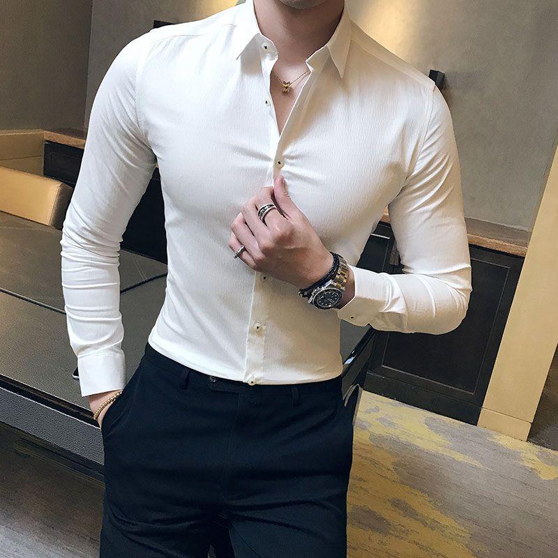 08dea67a85 Compre Homens De Alta Qualidade Camisa Sólidos Simples Negócio Mens Camisas  Sociais Vestido De Manga Longa Slim Fit Todos Os Combinam Desgaste Formal  Blusa ...
