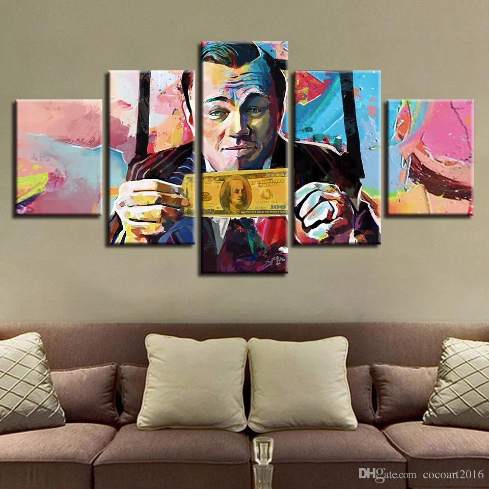 Canvas HD Poster Poster Frame Abstract Graffiti U.S.Dollar Money Painting Modulare Immagini Wall Art Living Room Decor