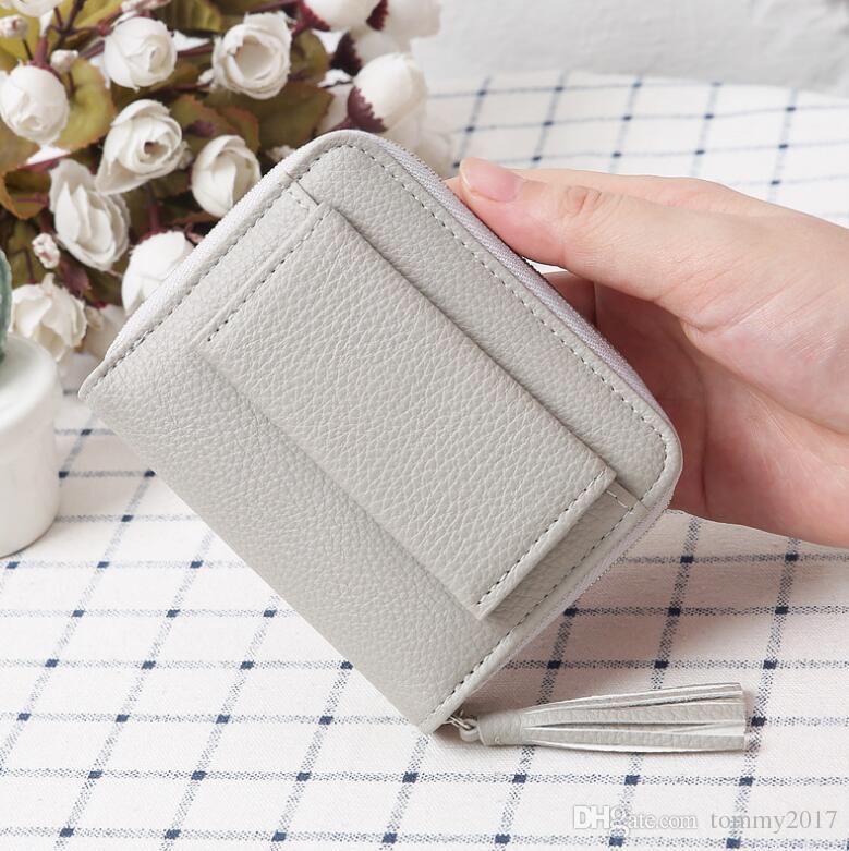 Litchi pattern short ladies Korean wallet cute student buckle tassel wallet