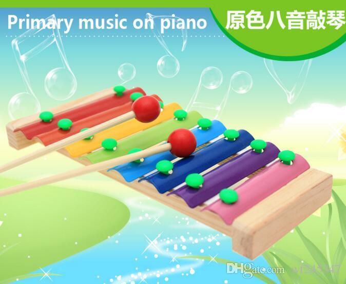 Baby's Wooden Musical Toys Anhänger 8-Note Xylophon Kinder Hand Klopfen Piano Music Instrument Frühkindliche Lernspielzeug