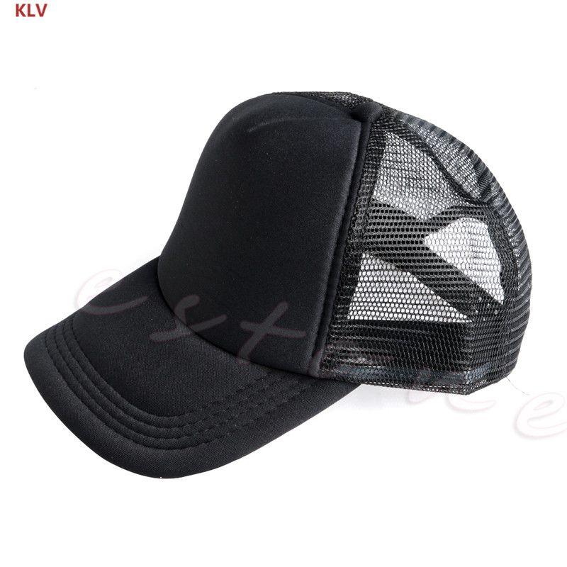 4d3a5ba7f64 KLV Plain Baseball Cap Solid Trucker Mesh Blank Curved Visor Hat Adjustable  Men Custom Baseball Hats Army Hats From Huazu