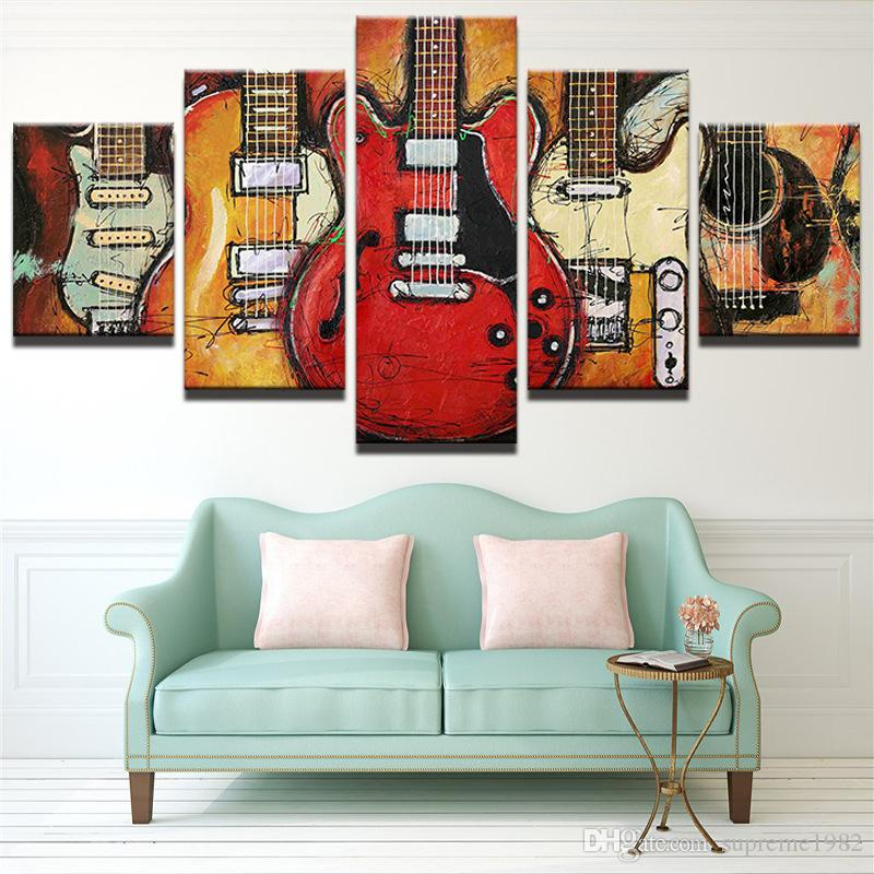 5 Panles Canvas Wall Art Musical Guitar Instruments Picture Prints Painting Modern Giclee Artworks For Home Decoration