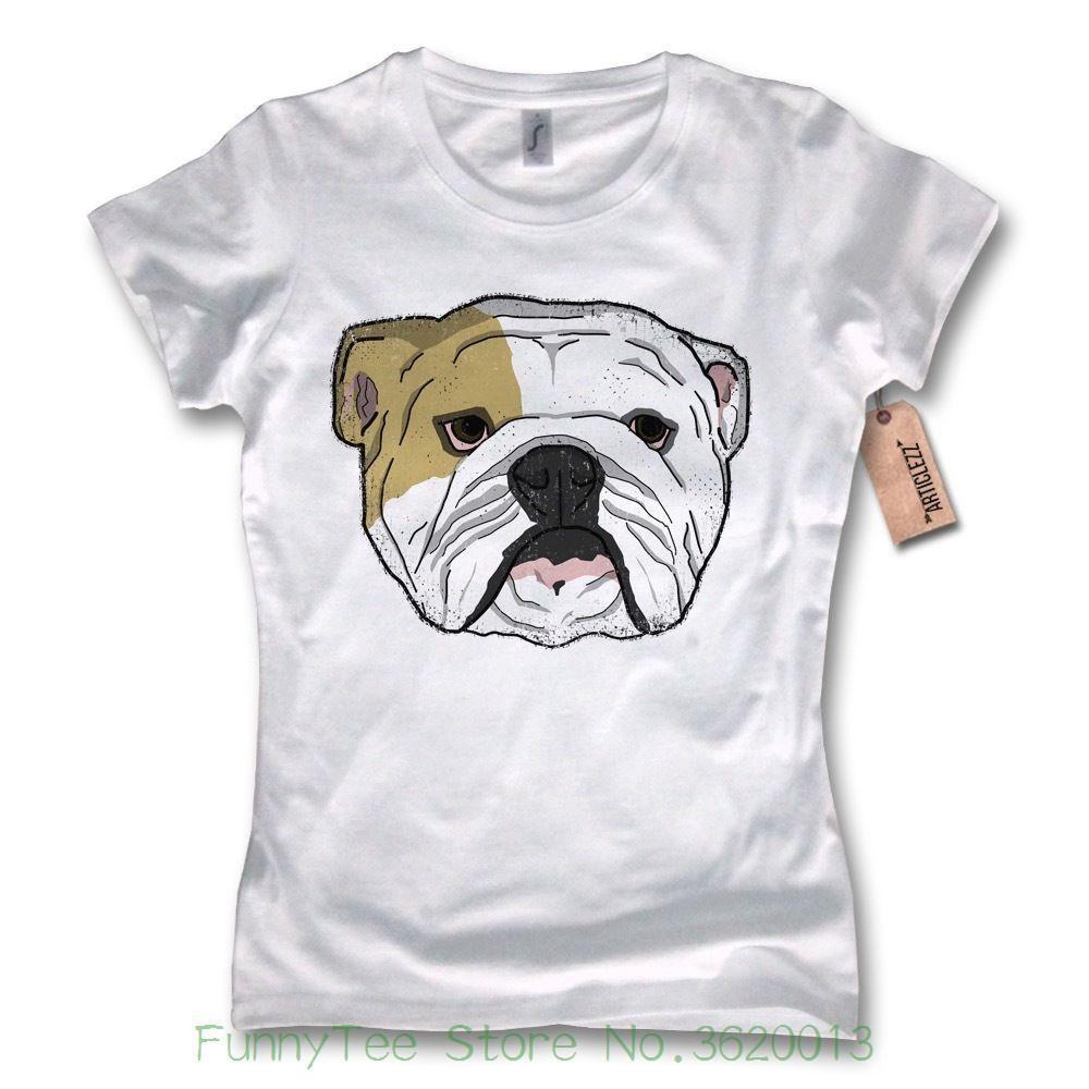 Women s Tee Damen T-shirt English Bulldog Englische Bulldogge 100%  Baumwolle Wei ? S M L Xl Women Shirt