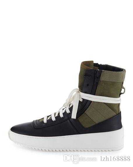 fear of god shoes Jungle High-Top Leather Sneaker with Canvas Insets fog Boots platform Men fashion leather shoes size 38-45 free shipping
