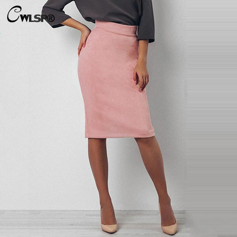 01f2671f87 2019 CWLSP 2018 Spring Suede Pencil Skirts Women Knee Length Back Split  Skirt Wear To Work Office Ladies Skirt QL3139 From Insightlook, $21.83    DHgate.Com