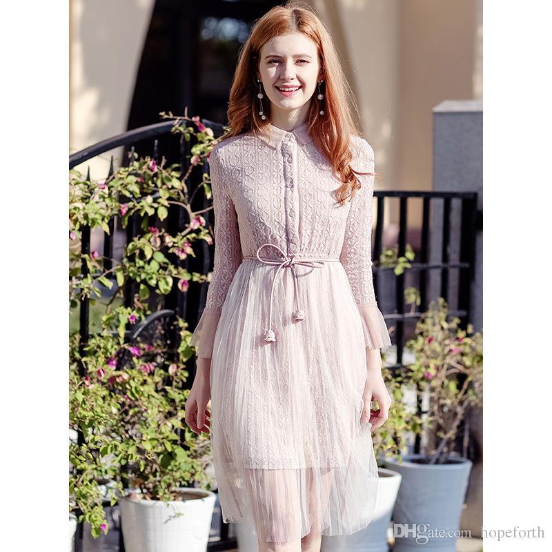 64f5d45d8 2018 Otoño Nuevo vestido de malla rosa de las mujeres Falda de moda S-XL  Vestido de encaje de las señoras Vestido de las mujeres Breve Vestidos ...