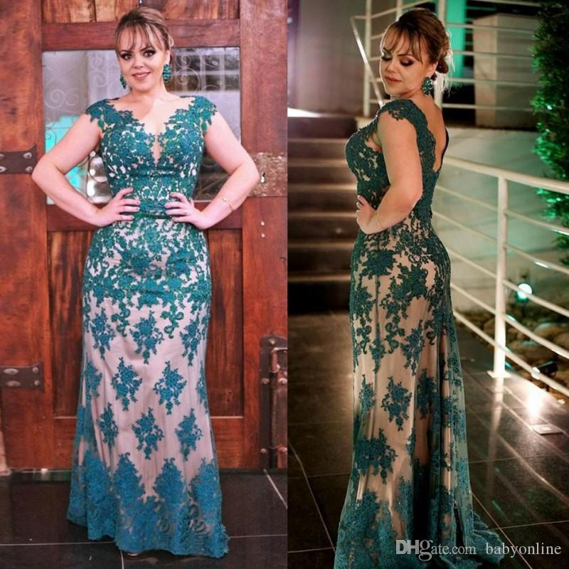 Aqua Lace Appliques Plus Size Mother Of Bride Groom Dresses Sheath V