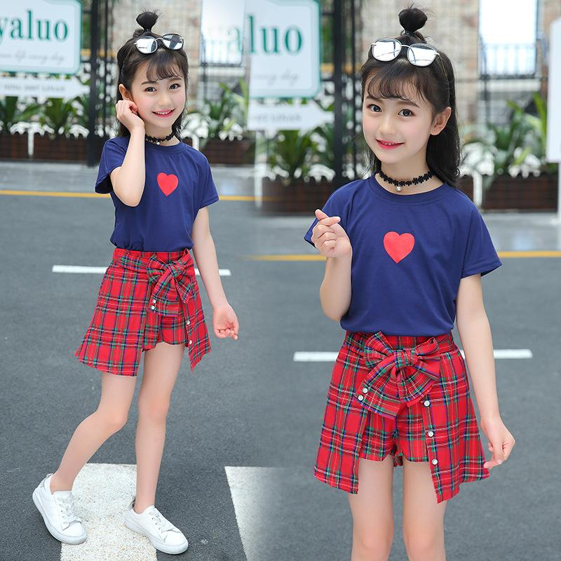 cf9277b8cab5 2019 Hot Pure Cotton Girls Kids Clothes 2018 New Fashion Summer Short  Sleeve T Shirt + Plaid Skirt Outfit Children Clothing Set From Friendhi