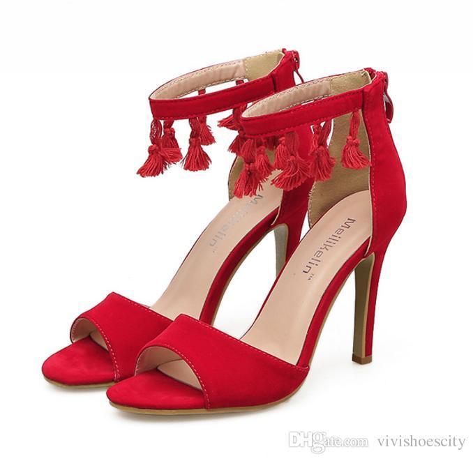 Compre 2018 Borlas De Moda Correa Del Tobillo Único Único Rojo Tacones Altos  Zapatos De Boda 2018 es Tamaño 35 A 40 A  29.4 Del Vivishoescity  0556486d53e9