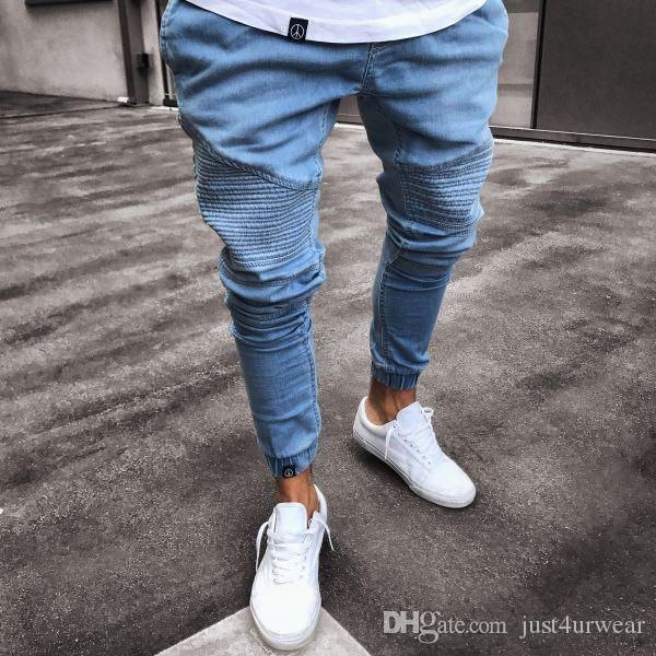 Compre Jeans De Moda Para Hombres Pantalones De Lapiz Flacos Drapeados Rasgados Ropa De Primavera Y Otono Masculina Jeans A 17 57 Del Just4urwear Dhgate Com